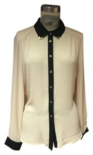 Forever 21 Brass Tips Hipster Button Down Shirt Cream beige
