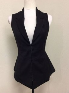 Forever 21 Vest Fitted Flared Top Black