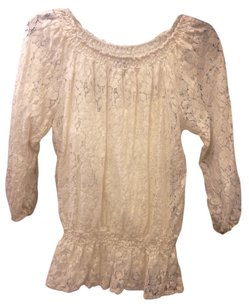 Forever 21 Bohemian Top Cream and Metallic Gold
