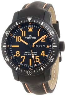 Fortis B-42 Black Mars 500 Day Date Mens Automatic Watch 647.28.13L.13