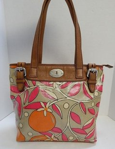 Fossil Blossom Coated Tote in Orange