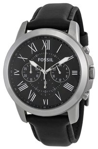Fossil FOSSIL Grant Black Dial Black Leather Men's Watch FSFS4812