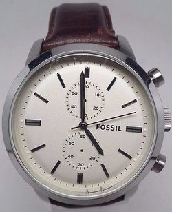 Fossil Fossil Townsman Beige Dial Ss Leather Chronograph Quartz Mens Watch Fs4865