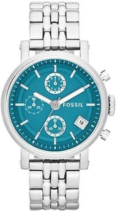 Fossil Fossil Boyfriend Stainless Turquoise Teal Dial Chronograph Womens Watch Es3571