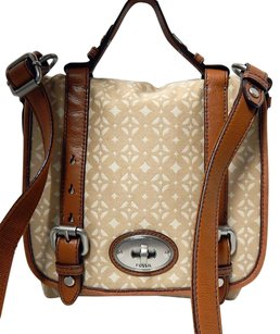 Fossil Maddox Leather Canvas Cross Body Bag