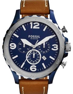 Fossil New Release! Fossil Men's Chronograph Nate Dark Brown Leather Strap Watch 50mm JR1504