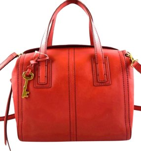 Fossil Leather Emma Crossbody Messenger Satchel in Red