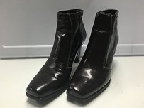 Franco Sarto Dark Square Toe Side Zip Heeled Ankle B1316 Brown Boots
