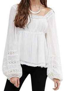 Free People Bell Sleeves Lace Trim NWT Ivory Halter Top