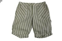 Free People People Seer Sucker Striped Green Cuffed Casual Bermuda Shorts green beige