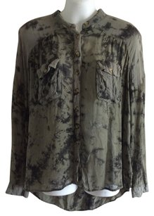 Free People Button Down Shirt Black and green