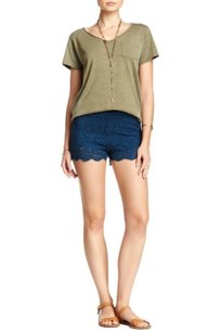 Free People Floral Lace Biker Shorts Blue