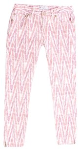 Free People Cotton Stretchy Striped New Skinny Pants Ivory Red Purple