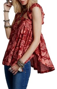 Free People Cross Straps Breezy Top Red Motif