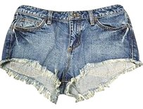 Free People People 100 Denim Casual High Waist 27 3319a Cut Off Shorts Blue