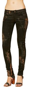 Free People Distressed Denim Edgy Rocker Stitched Skinny Jeans-Distressed