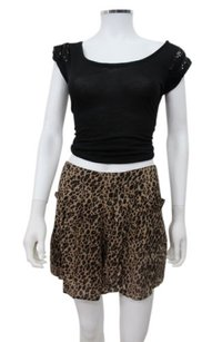 Free People People Animal Leopard Staying Cool Dress Shorts Black