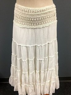 Free People Womens Tiered Maxi Skirt White