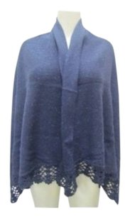 Free People People Midnight Blue Ivory Wrap W Crochet Edge Detail 20329dh
