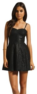 Free People short dress Black Pleated Vegan Leather on Tradesy