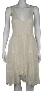 Free People People Womens Creme Sheath Sleeveless Floral Lace Casual Party Dress