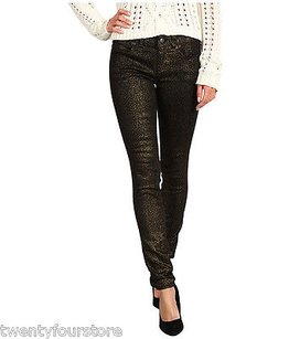 Free People Metallic Foil Skinny Jeans