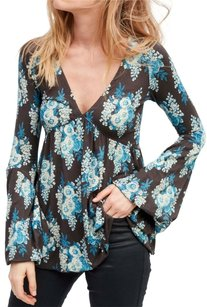 Free People Longsleeve Floral Print Plunge V-neck Top