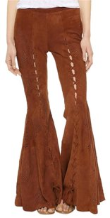 Free People Suede Flare Vintage Lace Up Flare Pants brown