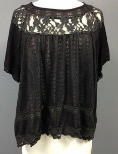 Free People People Cotton Lace Collar Accented Short Sleeve Sma 6451 Top Black