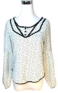 Free People People And Black Polka Dot Top Ivory