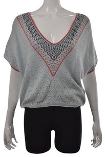 Free People People Womens Blue V Neck Short Sleeve Wool Speckled Sweater