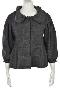 French Connection Womens Speckled Basic 34 Sleeve Coat Gray Jacket