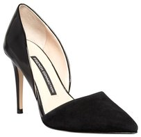 French Connection Classic Suede Patent Leather Chic Black Pumps