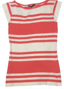 French Connection Sailor Preppy Nautical T Shirt Coral and White Striped
