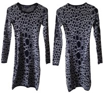 French Connection Sweater Cheetah Leopard 4 Longsleeve Dress