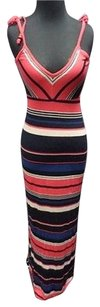 Red Blue Maxi Dress by French Connection Striped Rayon Full Length Maxi Sma10417