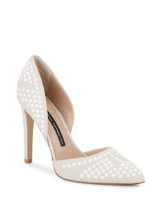 French Connection Nude/ White stud overlay Pumps