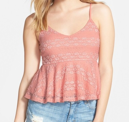 Frenchi Pink Junior Lace Shimmer Peplum Vneck Cami Top low-cost