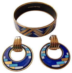 Frey Wille Enamel/Gold Bracelet & Earrings