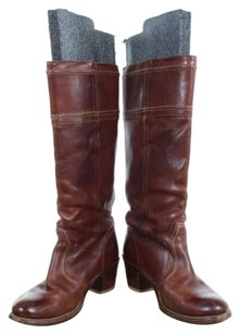 Frye Womens Knee High Distressed Leather Casual Dark Tan Boots