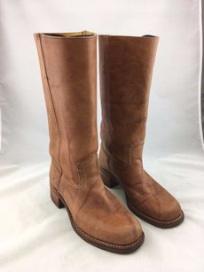 Frye Carmel Leather Moto Brown Boots