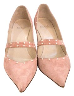 Furla Suede Kitten Heels Trimm Made In Italy Pink trimmed with pearls Pumps