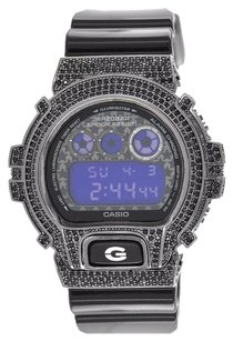G-Shock Black G Shock Watch Digital Display Custom Black Simulated Diamond Dw6900sc-8dr