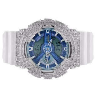 G-Shock Custom G-shock Watch Iced Out Blue Dial Ga110wb-7a White Silicone Band Ana-dig