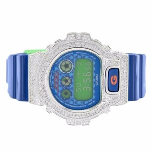 G-Shock G-shock Watch Iced Out Simulated Diamonds Blue Glossy Resin Band Dw6900sc-4dr