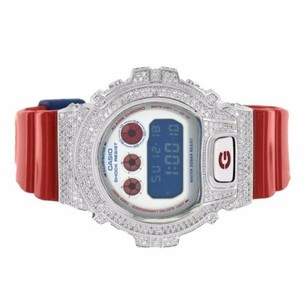G-Shock Shock Resist G-shock Watch Red Glossy Band Simulated Diamonds Dw6900ac-2dr Iced