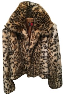 Gallery Faux Print Jacket Winter Fur Coat