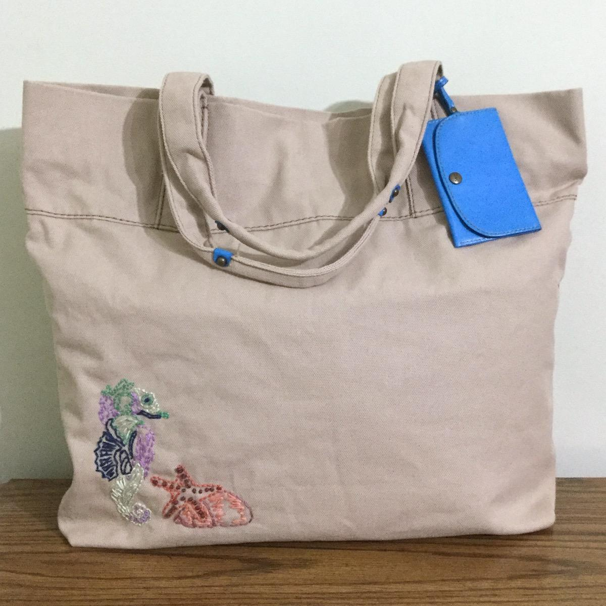 Gap Ooak Embroidered Beach Tote With Starfish Seahorse And Shell ...