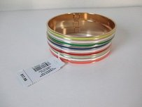 Gap Gap Multi Color Striped Enamel Gold Plated Bangle Set Of Each