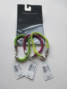 Gap Gap Neon Green Yellow Purple Nugget Cluster Bracelet Set Of Each